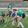 Oakmont's Gillian Macchia and Anna Thorton take on Leominster's Shaylyn Gallagher during the Fast Break field hockey league championship at Doyle Field on Tuesday evening. SENTINEL & ENTERPRISE / Ashley Green