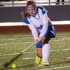 Lunenburg's Gabby Masciarelli hits the ball during the 1-0 victory over Nipmuc on Tuesday evening from Grafton High. SENTINEL & ENTERPRISE / Ashley Green