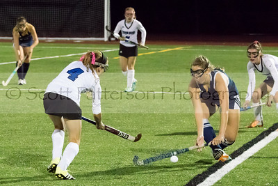 St Thomas Aquinas's Lil St. Jean blocks a pass from Oyster River's Laura Dreher during DII Varsity Field Hockey in Durham Tuesday night. Photo by Scott Patterson/Fosters.com