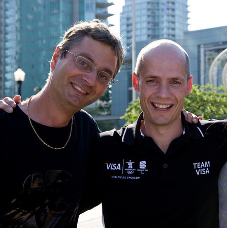 With Kurt Browning.      Photo courtesy of Claudette Carracedo Visa Olympic shoot