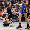 Nick Babcock, left, of Broomfield, watches Nick Swanson of Wheat Ridge celebrate. Babcock lost 7-6 at 130 pounds.<br /> Cliff Grassmick / February 20, 2010