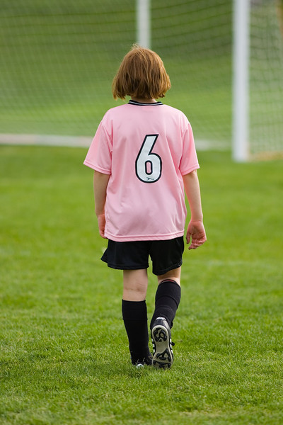 Girls club U10 playing on a warm Saturday at 9:15. The Pink Panthers vs the Yellow Somethings.