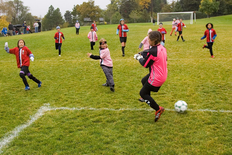 Goal sequence. Girls club U10 playing on a cold rainly Saturday at 10:30. The Pink Panthers were leading the Red Blades at halftime when the game was called due to snow.