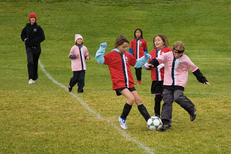 Maddie -ball stealing sequence. Girls club U10 playing on a cold rainly Saturday at 10:30. The Pink Panthers were leading the Red Blades at halftime when the game was called due to snow.