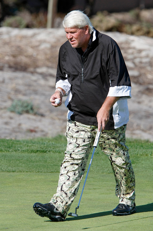 . John Daly on the 5th hole at Spyglass Hill Golf Course during the first round of the AT&T Pebble Beach National Pro Am on Feb. 6, 2014.  (Vern Fisher/Monterey County Herald)