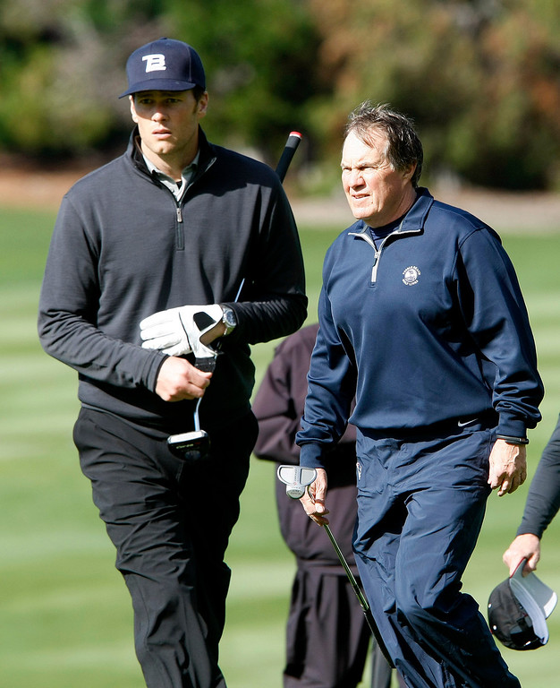 . New England Patriots Tom Brady and Bill Belichick at Spyglass Hill Golf Course during the first round of the AT&T Pebble Beach National Pro Am on Feb. 6, 2014.  (Vern Fisher/Monterey County Herald)