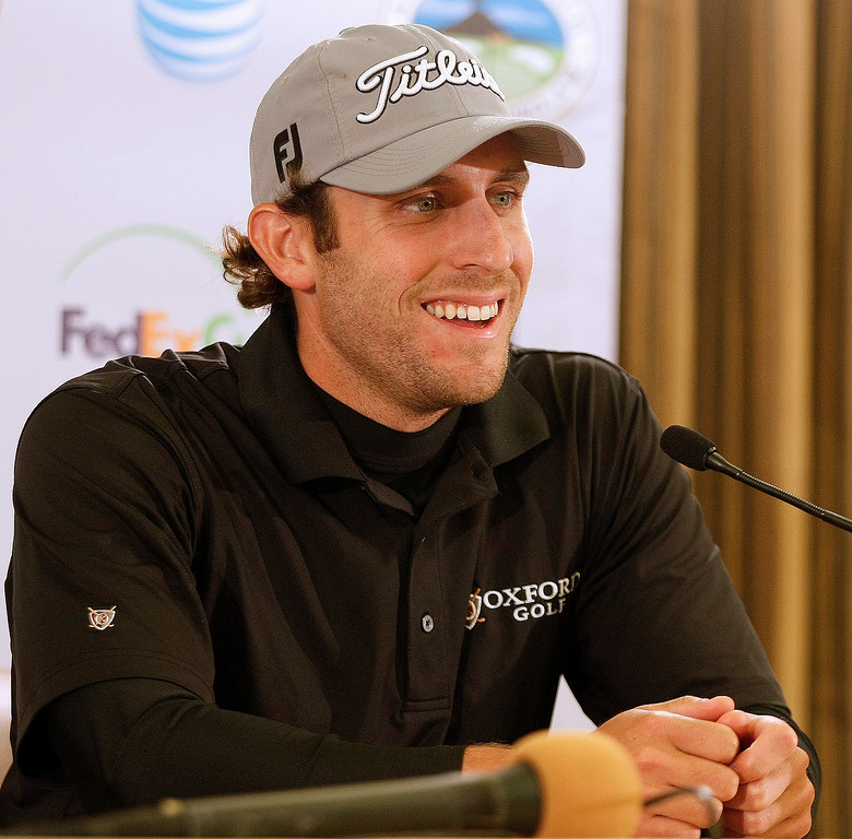 . First round leader Andrew Loupe in the media room at the Pebble Beach Golf Links on Feb. 6, 2014.  Loupe shot a 8 under 63 at Monterey Peninsula Country Club.  (Vern Fisher/Monterey County Herald)