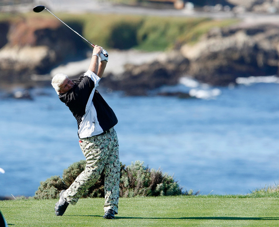 . John Daly hits his tee shot on the 4th hole at Spyglass Hill Golf Course during the first round of the AT&T Pebble Beach National Pro Am on Feb. 6, 2014.  (Vern Fisher/Monterey County Herald)