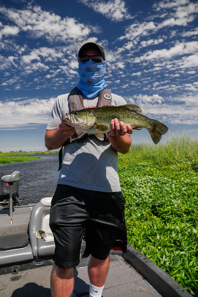 Andrew catches a bass on the Old River, Sacramento River Delta,  CA. August 4, 2016.