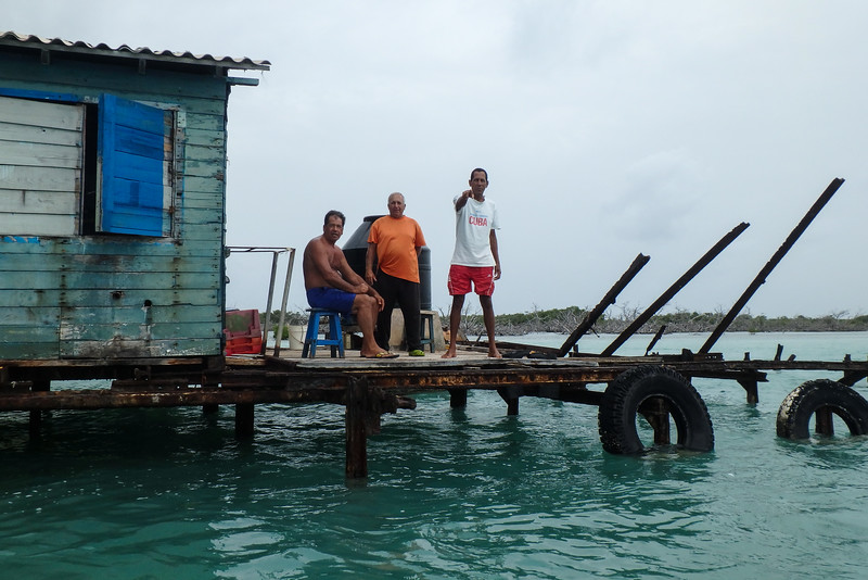 Attendants at Lobster trap storage, Jardines De La Reina (Gardens of the Queen), Cuba, Fishing Trip 2016.