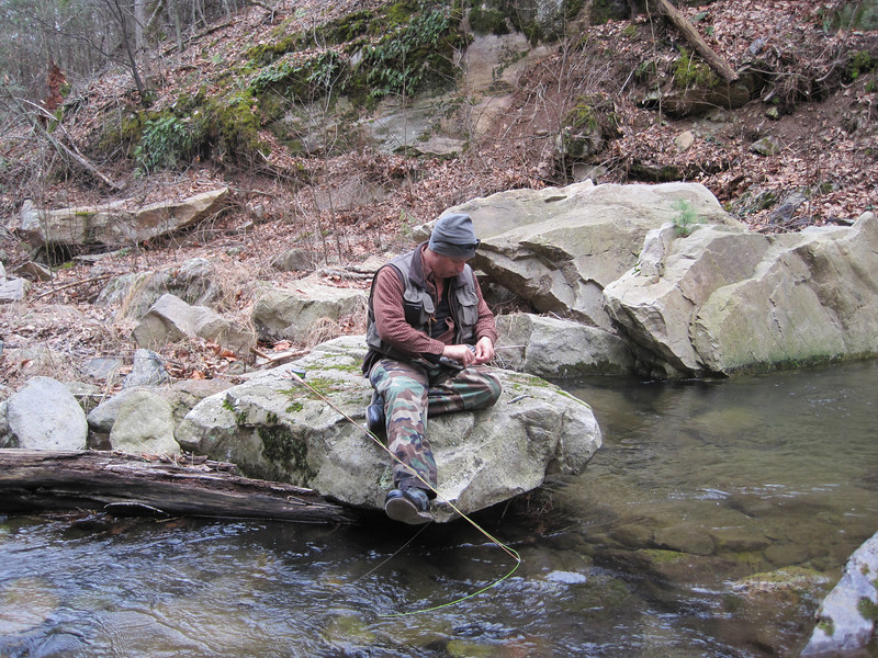 Donnie getting a fly ready on Naked Creek