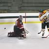 FSU Mike Fish gets a shot off but it hits the post - Goalie Brett Kilar
