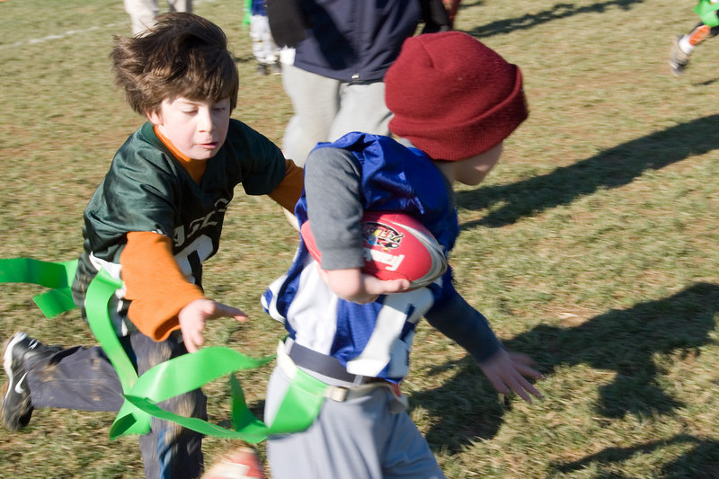 Flag football -- Matthew Dimond (WJHS, no community designnation specified) is unable to avoid a tackler.