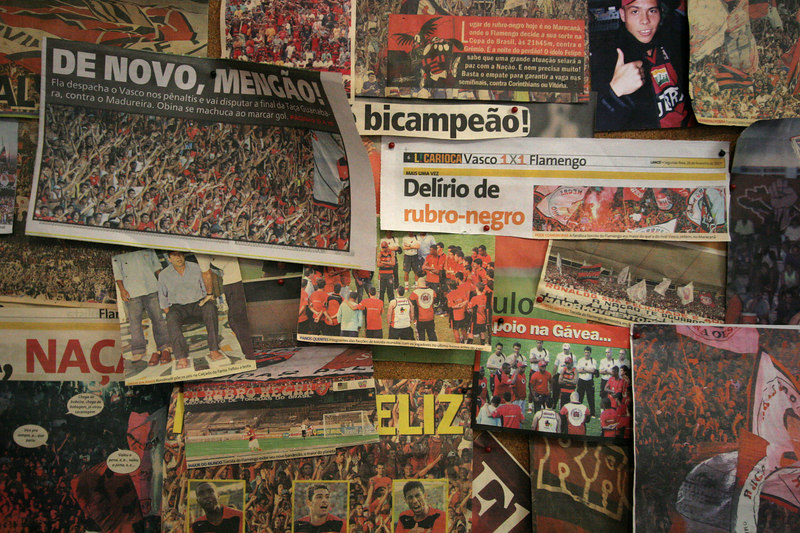 Newspaper clippings  at a fan club office in Rio de Janeiro, Brazil, March 16, 2006. The fan club has profited from the team's recent sucesses. More members are joining and buying merchandise ever since last year's Copa do Brasil championship earned the team a spot in this year's Libertadores Cup (South America's version of the Champion's League) after a five-year absence.
