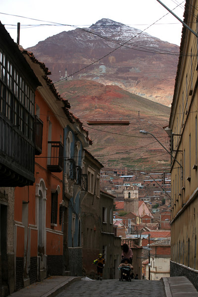 The Cerro Rico, or Rich Mountain, looms over the streets of Potos', a Spanish-colonial silver mining town high in the Bolivian Andes, Feb. 14, 2007, where Flamengo, Brazil's most popular club played Real Potos'.  Flamengo's trip to one of the world's highest professional soccer venues for the group 5 match against Potos' has proved a logistical nightmare for Flamengo because of the difficulties of playing at nearly 4,000 metres above sea level as well as the task of simply reaching the match venue. Potosi does not have a commercial airport and Flamengo flew to Sucre then made a three-hour bus journey up precipitous mountain roads to get there. Flamengo players were given bursts of oxygen during and after the match, which they managed to draw 2-2. Flamengo goals were scored in the 49th minute by Roni, who headed a free kick from the left, and Obina on an identical play in the 67th minute. After the match Flamengo leadership said that they will not play at that altitude again, prompting a controversy with the Bolivians, who say that they may refuse to play in Rio's 40 degree heat and humidity. Venezuela's Union AtlŽtico Maracaibo and Brazil's Paran‡ are also in group 5.