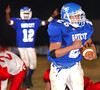 Tyler Parks, #20, scores for Gate City as Tihlee Anderson, #12, signals Touchdown in background. Photo by ned Jilton II