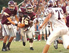 Robert Hogg, #15, eyes Bearden defender as he takes hand off from DB qb Bart Ring, #7. Photo by Ned Jilton II
