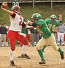 Clintwood #28 Alec Osborne tries to stop Holston #2 from making a pass. Photo by Erica Yoon