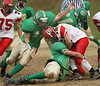 Clintwood #13  Austin Dotson and #87 Nick Robinson take down Holston #18. Photo by Erica Yoon