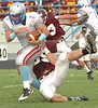 Sulivan South's Jordan Cassell, #1, pulls away from a Tennessee High defender for extra yardage. Photo by Ned Jilton II