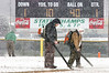 Workers use leaf blower to clear off the yard lines and hash marks before the start of the Clintwood and East Montogemery game. Photo by ned Jilton II