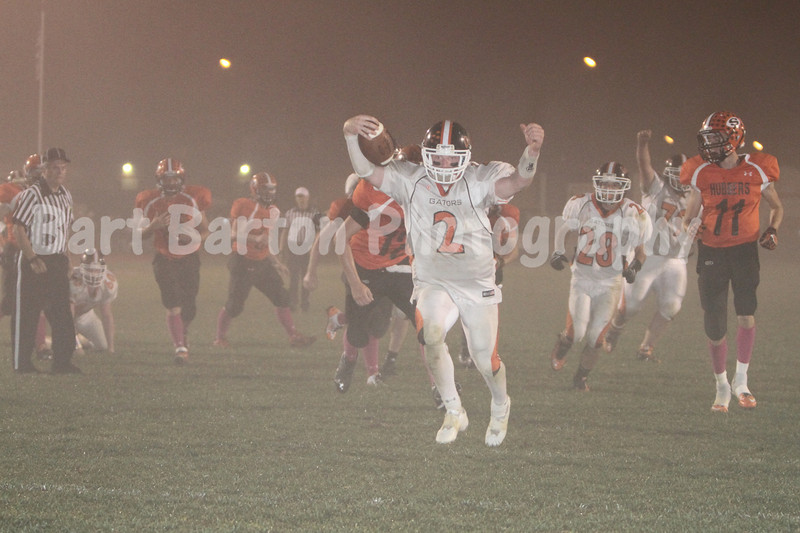 Out of the fog for a touchdown.