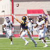 Star Photo/Larry N. Souders<br /> ETSU wide receiver and Elizabethton native Chad Pritchard (38) stretches for a pass in the second quarter against the Catamounts form Western Carolina in the Buc at Bristol game Saturday afternoon.