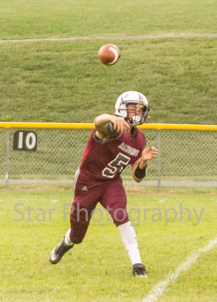 Star Photo/Larry N. Souders<br /> Unaka quarterback Blake King (5) tries to rally the Rangers back on a slant throw on the Rangers first play of the game.