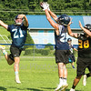 Star Photo/Larry N. Souders<br /> Hampton's Hunter Davenport (25) intercepts a pass intended for a Chucky Doak receiver.