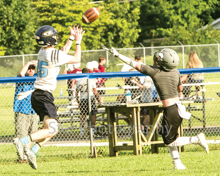 Star Photo/Larry N. Souders<br /> Unaka's Rodney Watson (20) makes a beautiful over the shoulder fingertip catch for a touchdown.