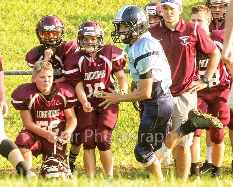 Star Photo/Larry N. Souders<br /> A Bulldog running back turns the corner and heads down the sideline for a large gain.