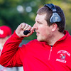 Record-Eagle/Brett A. Sommers Suttons Bay head coach Dan Durkin surveys the field during Friday's 61-20 win over Bear Lake.