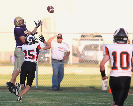 Record-Eagle/Keith King<br /> Frankfort's Nolan Nye catches the ball for a two-point conversion against Harbor Springs Friday, August 31, 2012 at Lockhart Field in Frankfort.