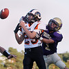 Record-Eagle/Keith King<br /> Harbor Springs' Aaron Burdick, left, breaks up a pass intended for Frankfort's Connor Bradley Friday, August 31, 2012 at Lockhart Field in Frankfort.