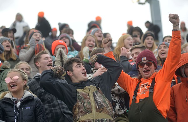 Kingsley fans cheer on their team during the first half of their game against Lansing Catholic Saturday in Greenville, Michigan. (Photo by Katy Batdorff | Special to the Record-Eagle)