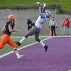 Lansing Catholic's Mitch Raphael misses a pass during the first half of their game against Kingsley Saturday in Greenville, Michigan. (Photo by Katy Batdorff | Special to the Record-Eagle)