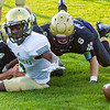 Record-Eagle/Brett A. Sommers Frankfort's Griffin Kelly (4) and Riley St. Amour (6) attempt to recover a fumble by Muskegon Catholic Central's Tommy Watts during Friday's football game.