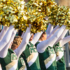 Record-Eagle/Brett A. Sommers Muskegon Catholic Central cheerleaders wave pom poms before Fridays game between the Crusaders and Frankfort.