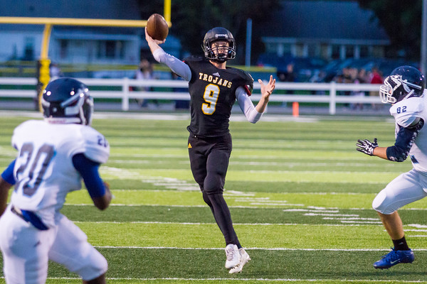 Record-Eagle/Brett A. Sommers Traverse City Central quarterback Tobin Schwannecke throws during Friday's 49-20 win over Petoskey.