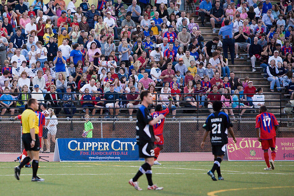 Gary Brooks celebrates his opening goal after 8 minutes with the 3,104 spectators.