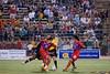 Sergio Flores and Shintaro Harada converge on Pittsburgh's Jean Robens Jerome.