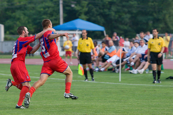 Dan Lader celebrates the tying goal, the first score of his professional career