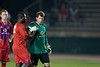 Goalkeeping coach Karim Moumban gives Brian Rowland some final advice