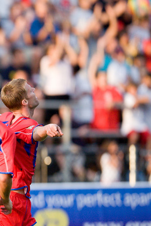 Andrew Marshall celebrates after giving Palace the shock lead with a header after 18 minutes (crop)