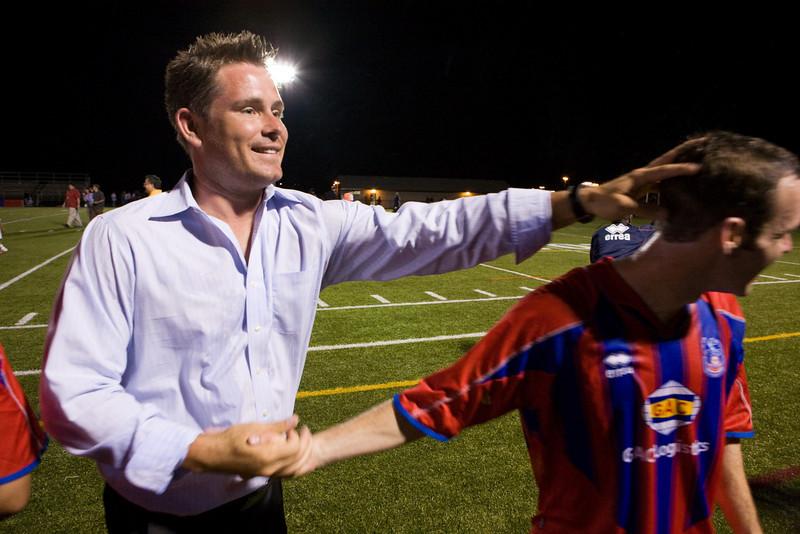 Pete Medd congratulates Paul Robson