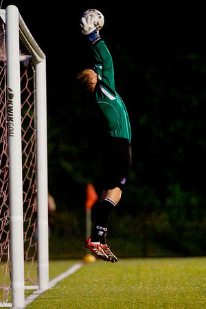 """Matt Nelson at full stretch to save a Mike Magee free kick.  Photo by <a href=""""http://www.michaeltemchine.com"""">Michael Temchine</a>"""