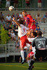 """Andrew Marshall soars above the New York defense to head in the opening goal.  Photo by <a href=""""http://www.michaeltemchine.com"""">Michael Temchine</a>"""