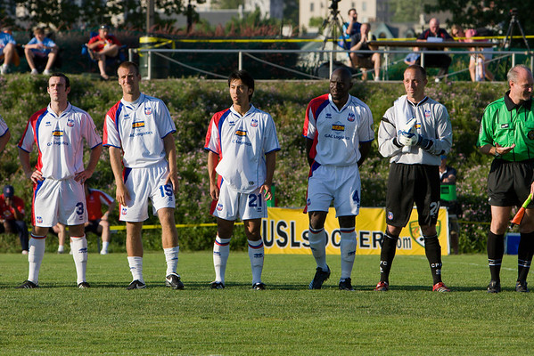 Paul Robson, Dan Lader, Shintaro Harada, Ibrahim Kante and  Matt Nelson line up before kick-off