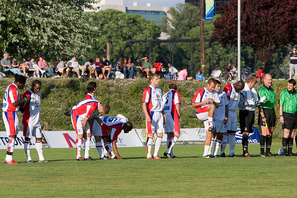 The team line-up before kick-off