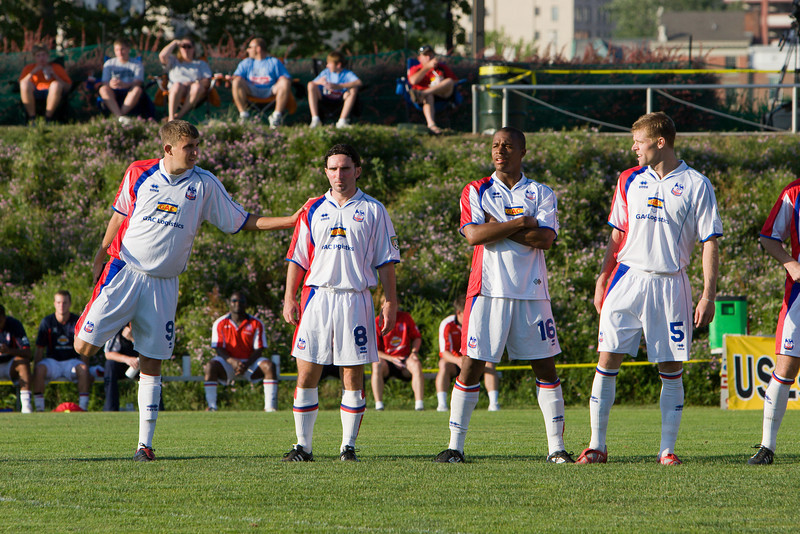 Pat Healey, Bryn Harkin, Larry Mark and Andrew Marshall line up before kick-off
